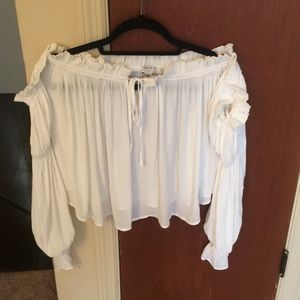 Off the shoulder white contemporary top